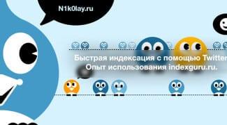 Быстрая индексация с помощью Twitter. Опыт использования indexguru.ru.